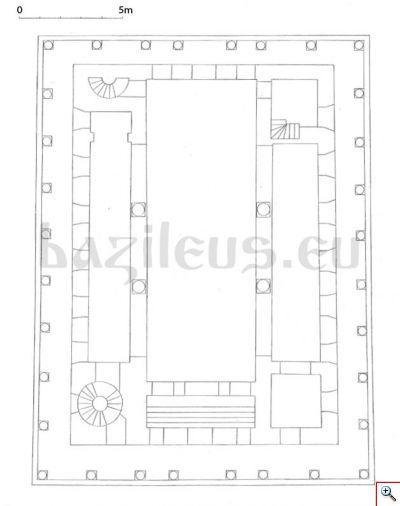 Обр. 2. Възстановен план на представителния втори етаж на  палата.