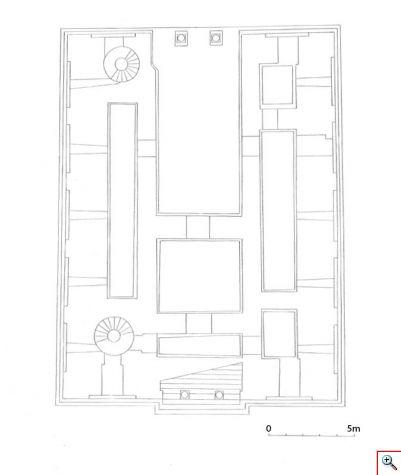 Обр. 1.  Възстановен план на приземния етаж на палата при Дворцовата църква.